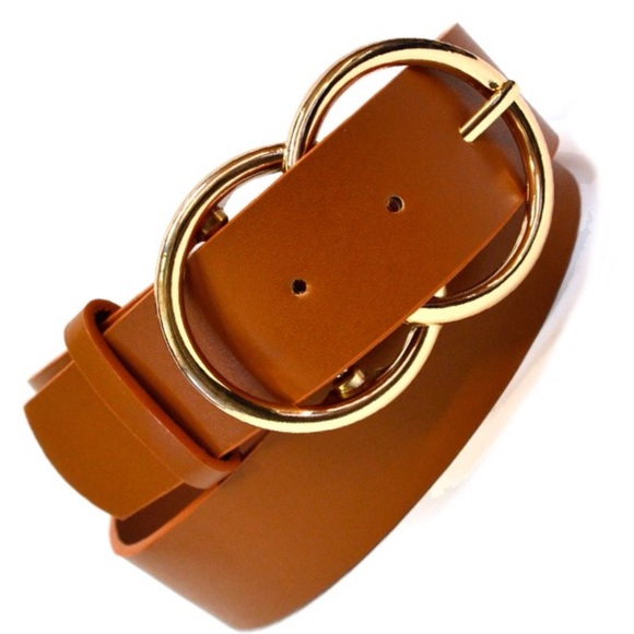 Accessories - Tan | Gold Double Ring Buckle Belt